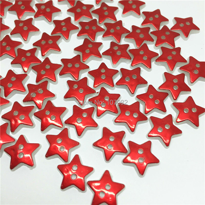 200pcs metallic red color surface christmas star buttons resin 2 holes sewing button embellishments for cardmaking in buttons from home garden on - Christmas Buttons