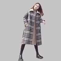 Winter Women's Wool Coat New Long Woolen Coat Single Blends Plaid warm Thickening Female Lattice Wool Coat Over knee vestiti