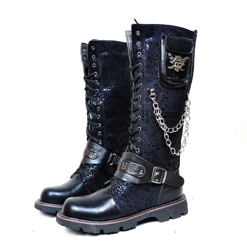 05c55b860d4 Gothic Boots Men Black Military Combat Metal Skull Buckle Motorcycle Punk  Style High Leather Men s Shoes Rock Bota Masculina
