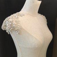 Rhinestone bead applique, crystal bodice patch, heavy bead handmade rhinestone applique for bridal shoulder embellishment