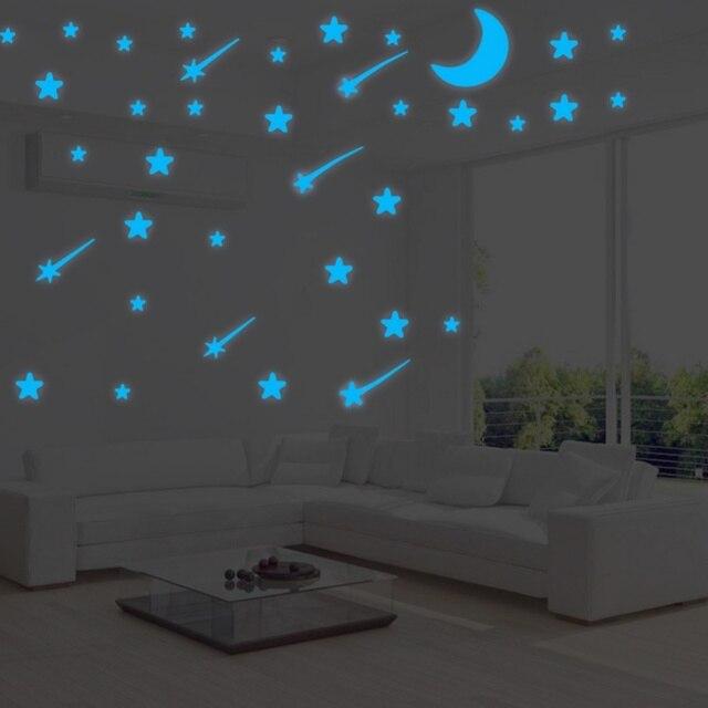 Diy Self Adhesive Blue Night Glow Wall Stickers Bedroom Decor Pvc
