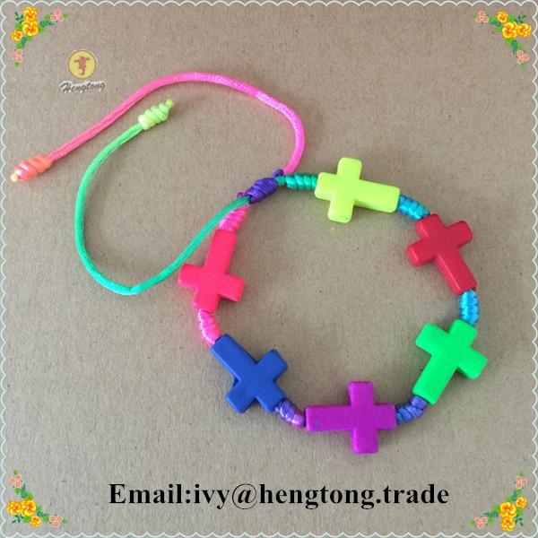 rainbow color cord rosary bracelet/ fluorescent plastic bead bangle for children
