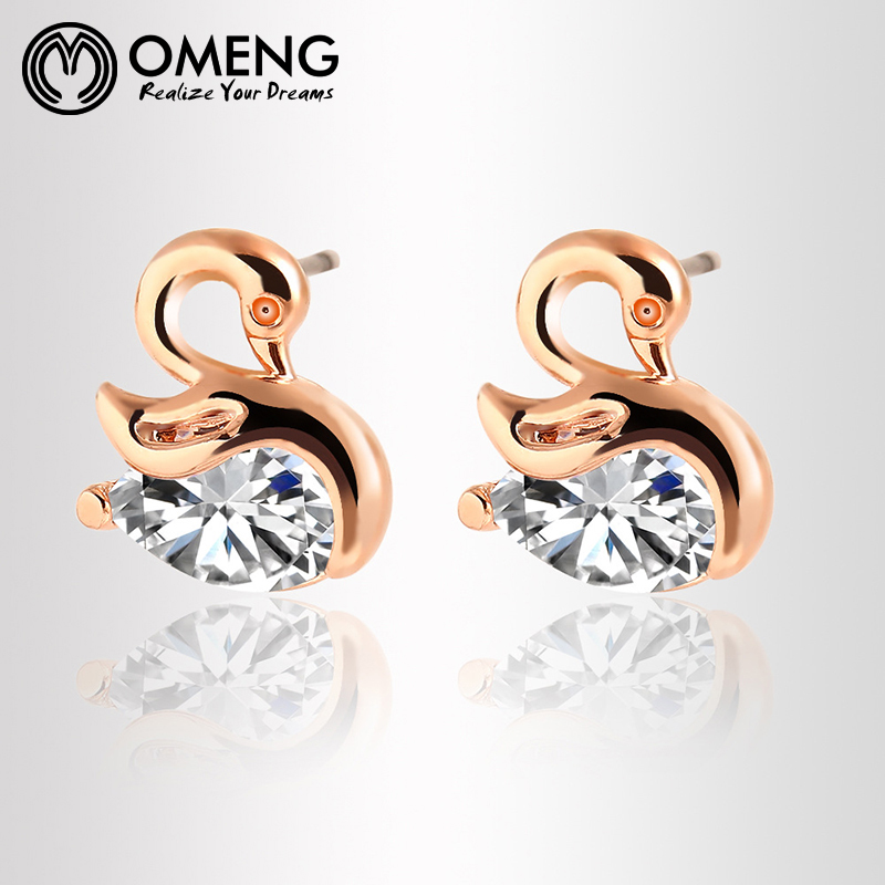 Gold Goose Shape with Rhinestone Flower Sweet Candy Color Animal Stud Earrings for Women Piercing Jewelry EH399