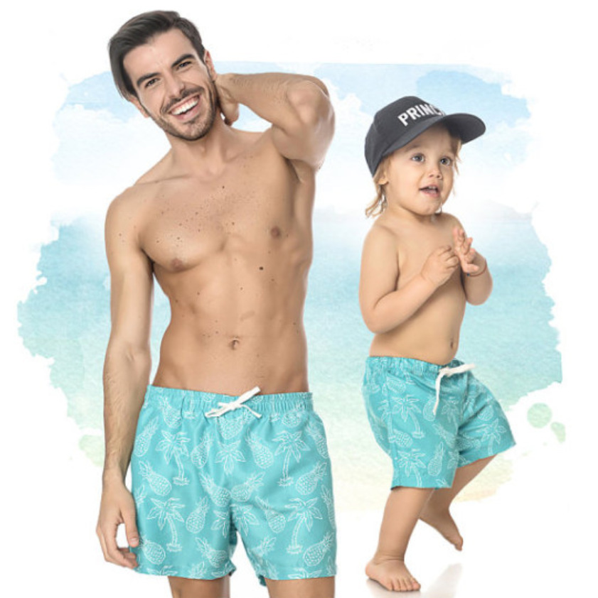 PPXX Summer Boys Shorts Family Clothes Swimsuit Father Son Family Matching Outfits Beach Children Shorts Boys Pants Baby