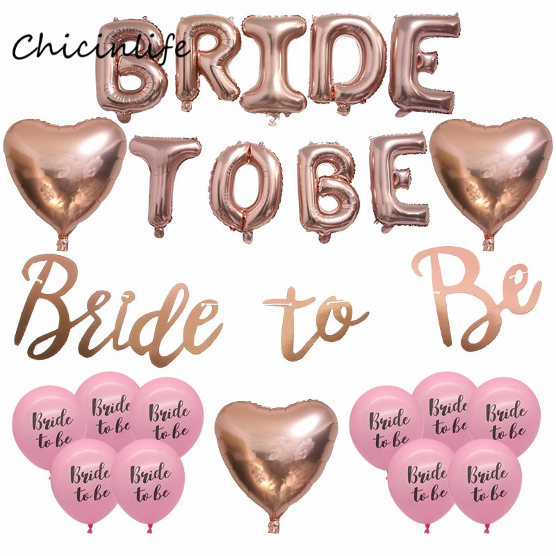 Chicinlife 1set Rose Gold Bride to Be Banner Balloons wedding decoration Bachelorette Party Supplies Team Bride Heart Balloon