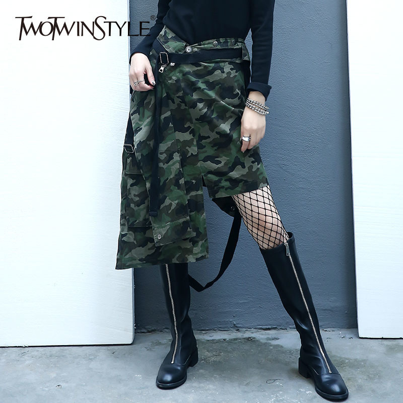 TWOTWINSTYLE Camouflage Lace Up Skirts For Women Plus Size High Wasit Irregular Midi Skirt Female Print
