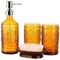 Cup Dish Dispensers Bathroom Set Glass Bath gel Bottle Four piece Set Soap Box Bathroom Tumblers Soap Dish Body Wash Dispensers