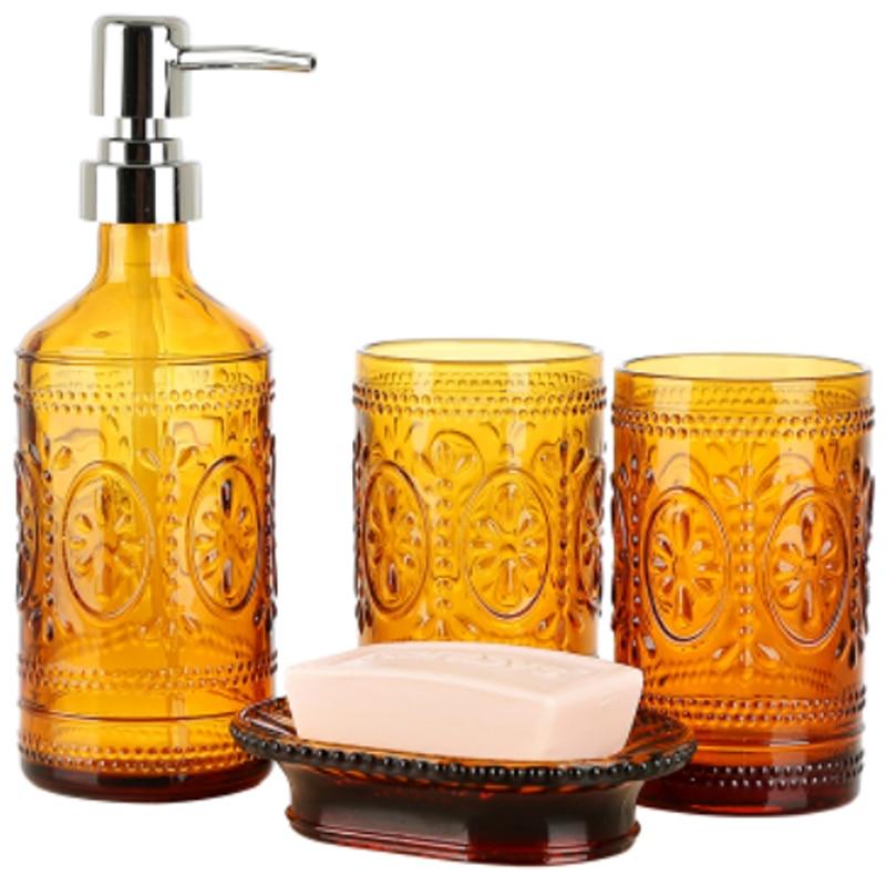Distributeurs de gobelets et de plats | Salle de bain en verre, gel bouteille ensemble de quatre pièces boîte à savon, gobelets de salle de bains, distributeurs de savon, corps de lavage