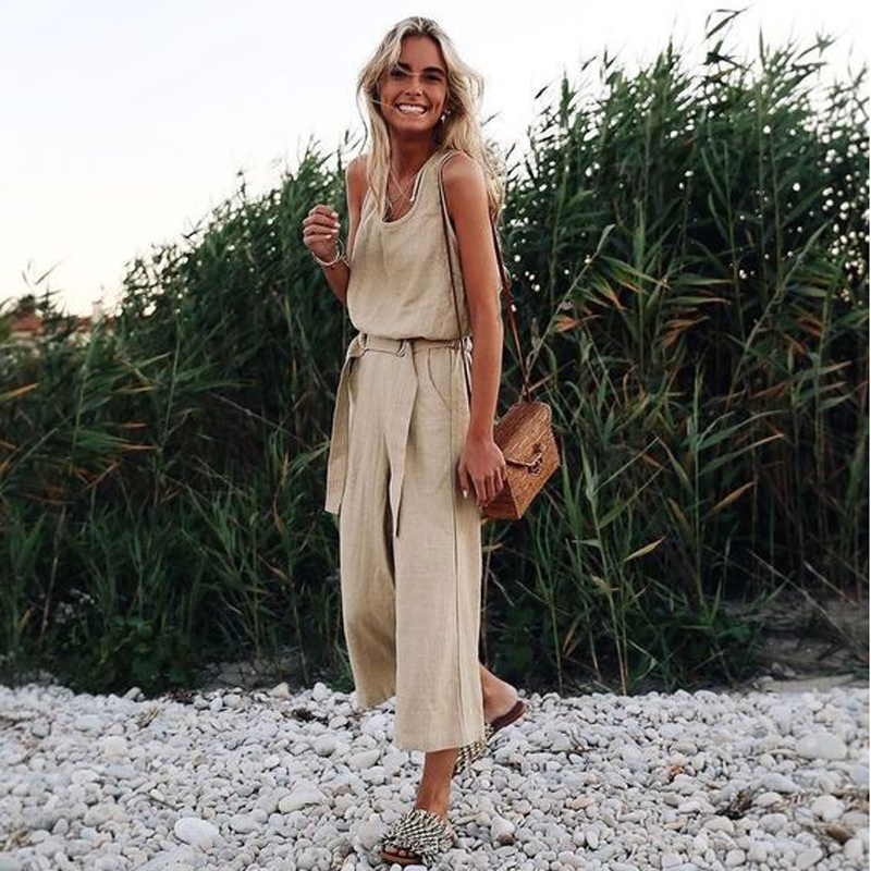 Casual Loose Cotton Linen Jumpsuit 2019 Summer Solid Sleeveless Vest Conjoined Wide Leg Pants Straight Sashes Lace Up Jumpsuit