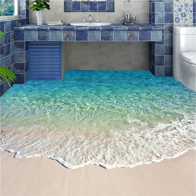 Wellyu Custom Modern Floor Blue Sea Water Scenery Waterproof Bathroom Kitchen Balcony PVC Wall From The Wall To The Wall