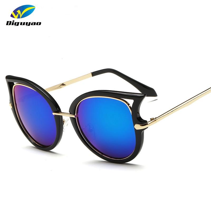 DIGUYAO الأزياء إطار معدني مثير القط العين النظارات الشمسية للنساء طلاء العلامة التجارية خمر النظارات الإناث oculos دي غراو femininos