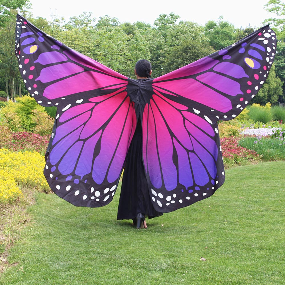 a4a73d94273fd Egypt Belly Wings Dancing Costume Butterfly Cape Scarves Peacock Poncho  Shawl Wrap Novelty Print Chiffon Scarves Pashminas #TW