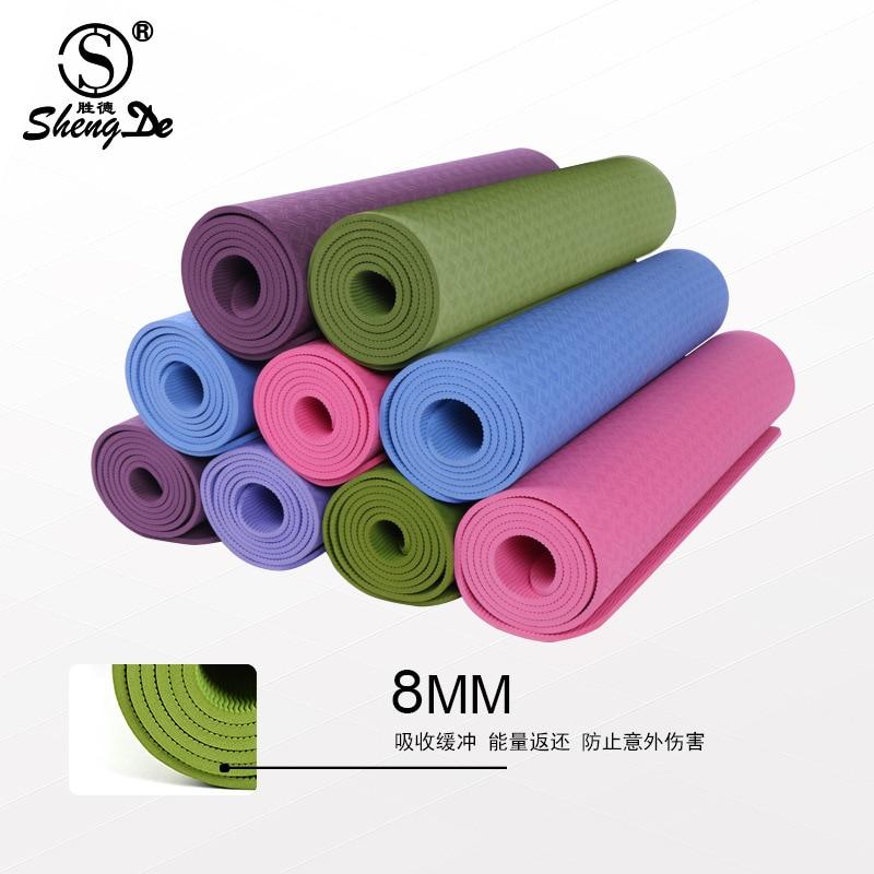 2016 TPE Yoga Mat For Fitness 183*61*0.8CM Lightweight Keep Slim Fit Accessory Training Mattress Exercise Equipment mat