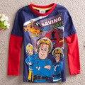 High Quality Kids  Baby Toddler Boys Clothing Fireman Gift  Fireman  Sam Clothes  Cartoon Long Sleeve Cotton Boy's  T Shirt