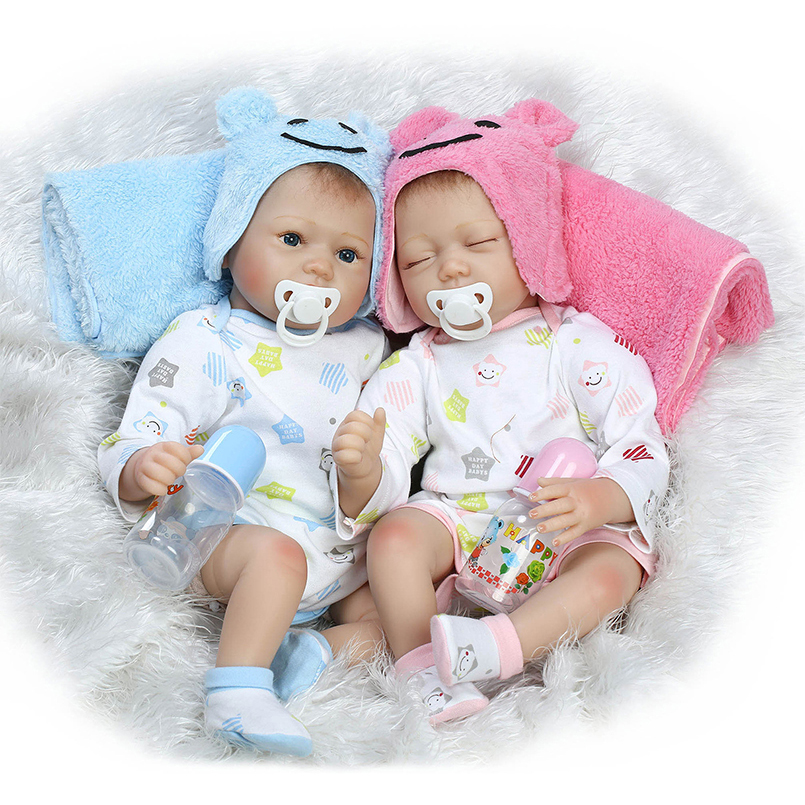 New Baby Doll environmental plastic Twins Boy Girl Simulation Baby dolls to accompany sleeping partners Kids partners cd