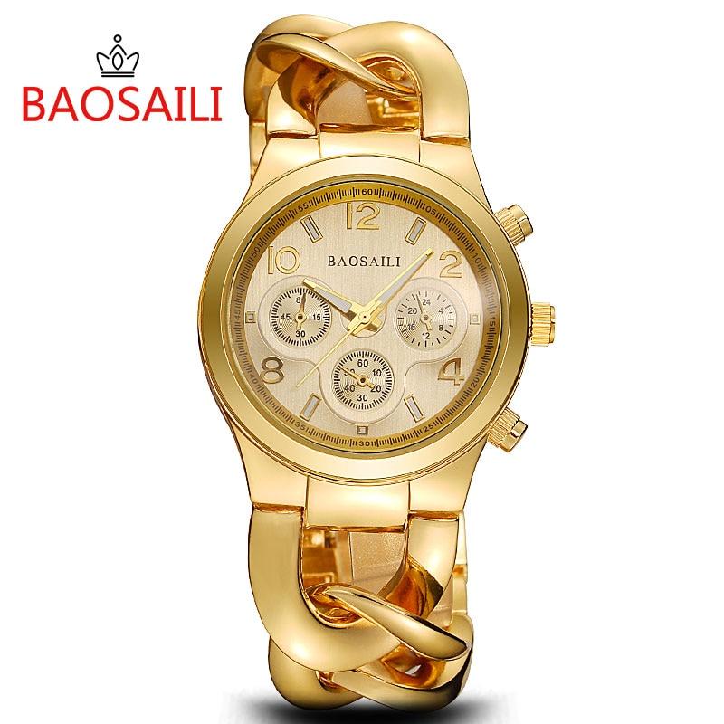 Prix pour BSL857 BAOSAILI Chaude Promotion D'or Femmes Montres Dames de Quartz En Acier Inoxydable Bracelet Montres Lien Chaîne Montre Bande