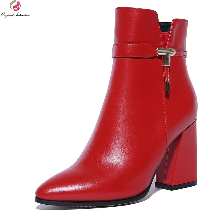 Original Intention New High-quality Women Ankle Boots Pointed Toe Square Heels Boots Black Red Shoes Woman Plus US Size 4-10.5 super elegant women ankle boots pointed toe square heels boots high quality black yellow gray shoes woman us size 4 10 5