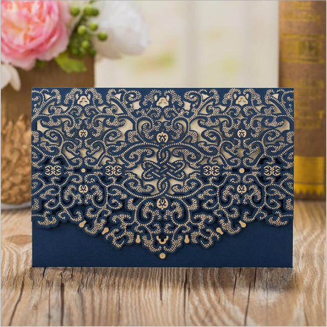 Blue Wedding Invitations Pocket Laser Cut Invitation Blank