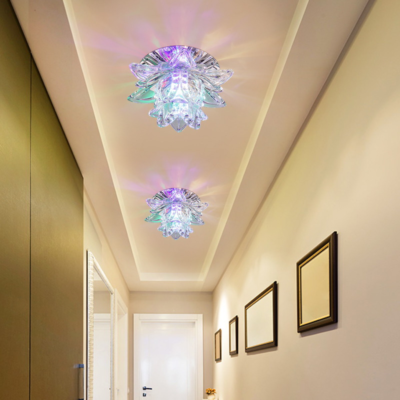 Colorful Led Lotus Crystal Ceiling Chandelier Light Spot Light for Corridors Balconies Hallways Creative Plafonnier Luminaire Crystal Wall Lights | Crystal Ceiling Lights | Colourful Led Lotus Crystal Ceiling Chandelier Light Spot Light for Corridors Balconies Hallways Creative Plafonnier Luminaire 001