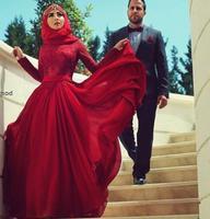 Saudi Engagement Hijab Abendkleider Lange Ärmel Spitze/Chiffon Musselin Ballkleider mit Hülsen Dark Red Abendkleider Arabisch