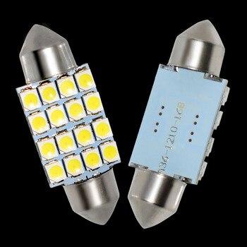2 قطعة 36 مللي متر C5W DE3423 DE3425 اكليل 16 led 3528 smd سيارة رخصة لوحة ضوء السيارات الإسكان الداخلية مصباح على شكل قبة مصابيح للقراءة 2X