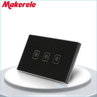 Touch Switch US Standard 3 Gang 2 Way Light Switch Touch Screen Wall Switch Wall Socket