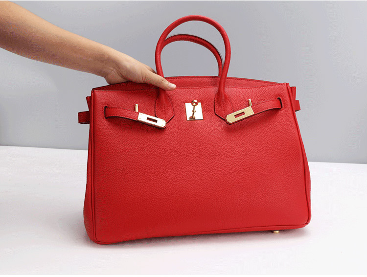 Genuine Leather Woman Red Birkin Inspired Handbag Excellent Quality