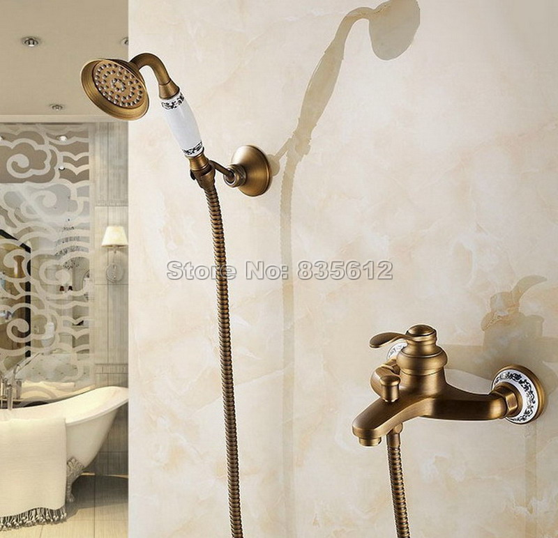 Antique Brass Wall Mounted Bathroom Single Handle Mixer tap Bath tub Faucet with Ceramic Hand held Shower Wtf304 shower faucet wall mounted antique brass bath tap swivel tub filler ceramic style lift sliding bar with soap dish mixer hj 67040