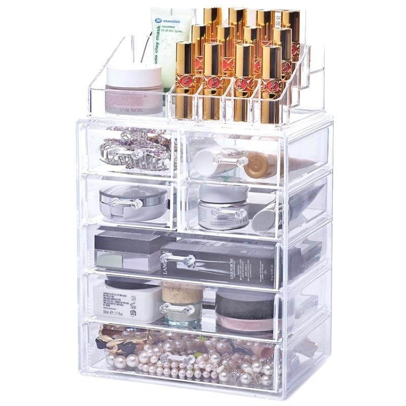 CHOICEFUN Large Clear Transparent Acrylic Make Up Brush Cosmetic Makeup Box Organizador Plastic Chest Desk Drawer Organizer