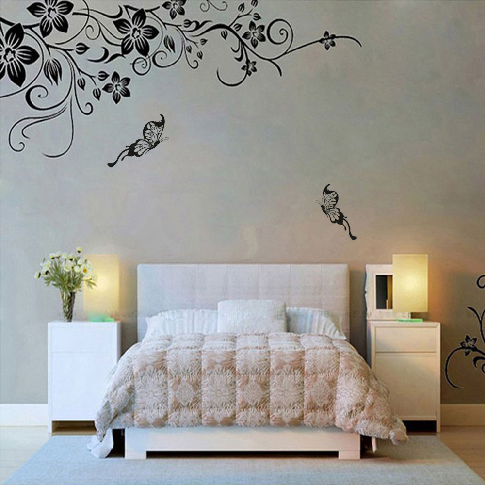 Hee Grand Removable Vinyl Wall Sticker Mural Decal Art Flowers and Vine Black butterfly  ...