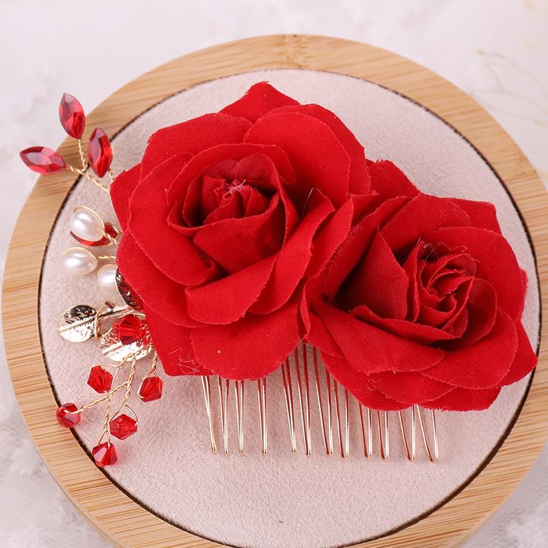 Red Rose Flower Bridal Beads Rhinestone Comb Wedding Hair Head Crystal Headpiece