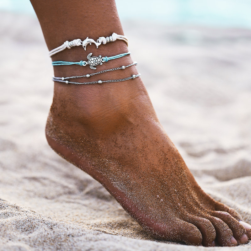 IF ME BOHO Multilayers Animal Anklets for Women Vintage Silver Color Turtle Shell Beach Ankle Bracelet on Foot Fashion Jewelry