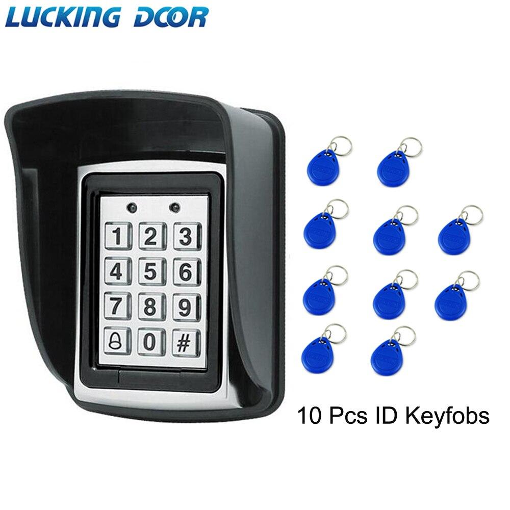 Backlight rfid metal controle de acesso em leitor de cartão teclado 1000 usuários porta sino 125 khz leitor de cartão teclado chave fobs porta acesso