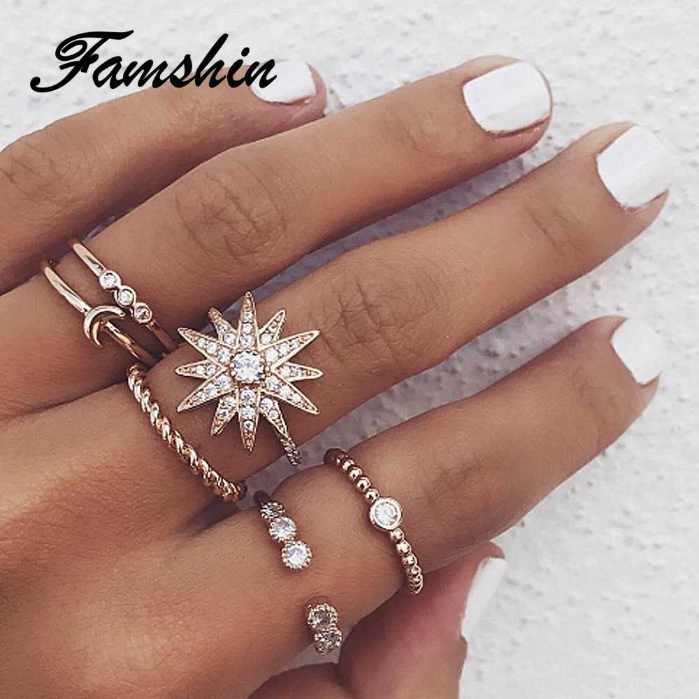 FAMSHIN 6 Pcs/Set Bohemian Vintage Big Flower Knuckle Rings Set 2018 For Women Gold Colour Crystal Leaves Ring Party Jewelry