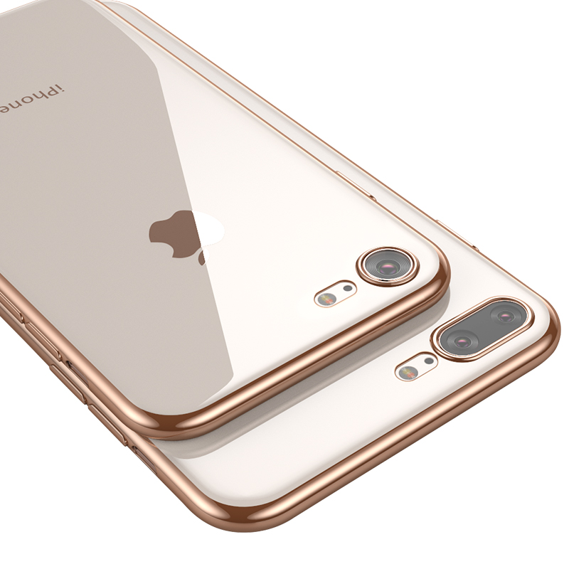 Ultra Thin Clear Soft Silicone Phone Case For IPhone 7 8 6 S 6S Plus Plating TPU Cover For IPhone X XS MAX XR Transparent Cases in Fitted Cases from Cellphones Telecommunications