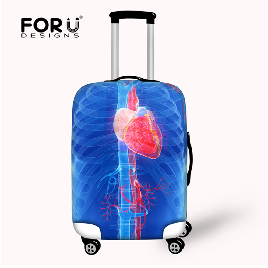 FORUDESIGNS Brand Dustproof Travel Luggage Cover For 18''-30'' Suitcase Mona Lisa Luggage Protective Covers Elastic Rain Cover