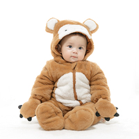 mikistory Cute Baby Bear Costumes Long Sleeve Hooded Winter Thick Clothes For Newborns Soft Cotton Infant Rompers Boys Jumpsuits