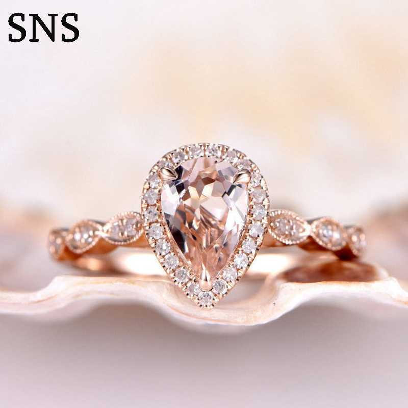 Natural Morganite Ring Peart Cut 6*8mm Pink Color Prong