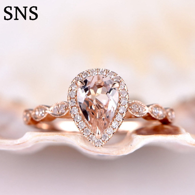 Natural Morganite Ring Peart Cut 6*8mm Pink Color Prong Setting with EF Melee size Moissanite Promise Ring 14k Rose Gold