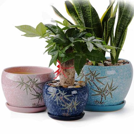 225 & US $19.5 17% OFF|Large Ceramic Flower pots Creative Chinese style meaty bonsai green plant pot Spot Wholesale Home indoor flower pot-in Flower Pots \u0026 ...