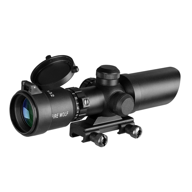 1.5-5X32 Short Scope Hunting Riflescope Red Dot Green Illuminated Optical Sight Rail 20mm Crossbows For Hunter Airsoft Weapons 2