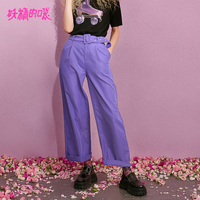 ELF SACK New Woman Wide Leg Pants Casual Knitted Mid Drawstring Trousers Women Solid Streetwear Full Length Femme Purple Pants