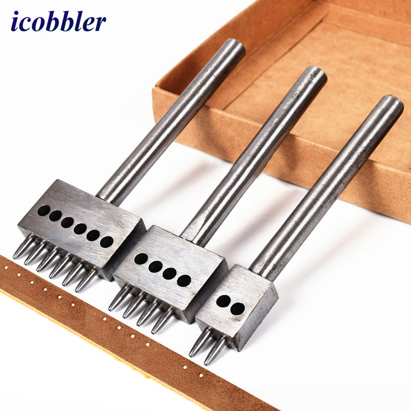 diamond wheel sets punch punching tool  Punching Leather Craft Tool 4mm Pitch Hole 6/2/4 Prongs Инструмент