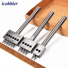 diamond wheel sets punch punching tool  Punching Leather Craft Tool 4mm Pitch Hole 6/2/4 Prongs