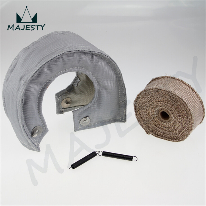 GRAY TURBO HEAT SHIELD BLANKET COVER T25 + 30FT MANIFOLD DOWNPIPE WRAP 2MM THICK