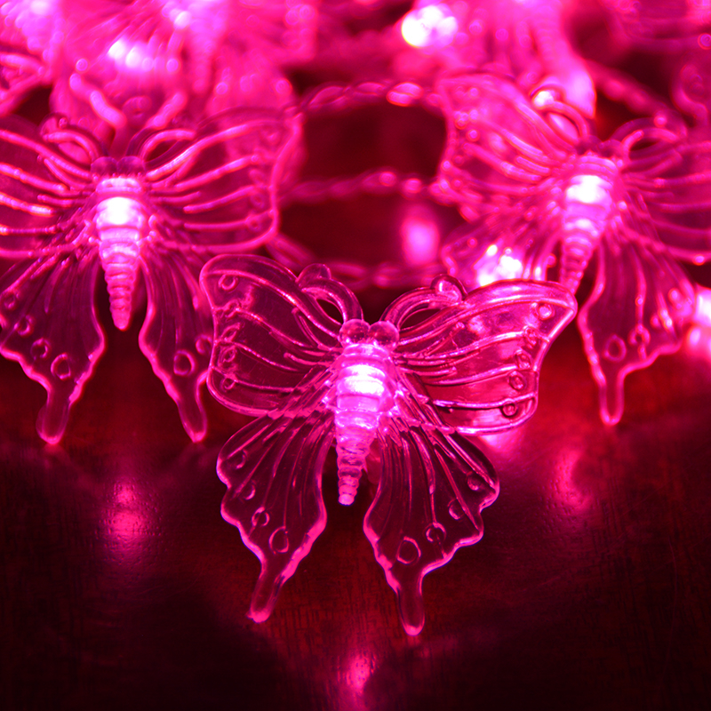 ФОТО Pink/Purple/RGB Plastic Butterfly Wedding Fairy Light Curtain Led Decoration Lamps for Window Christmas with EU Plug H-33