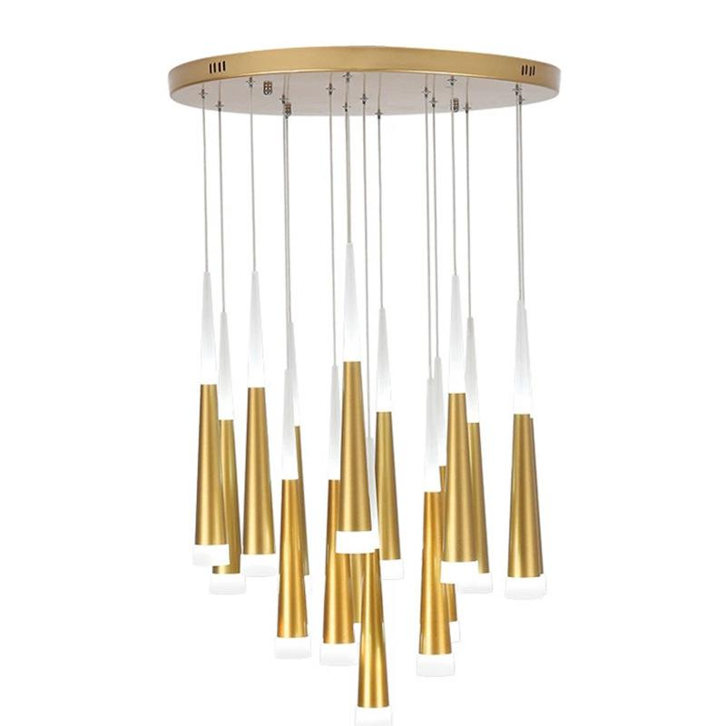 Post-modern minimalist living room LED chandelier conical meteor shower Rotating stair-lit living room LED chandelier zyy post modern simple restaurant chandelier art lights meteor shower villa stairs light living room bedroom led chandelier