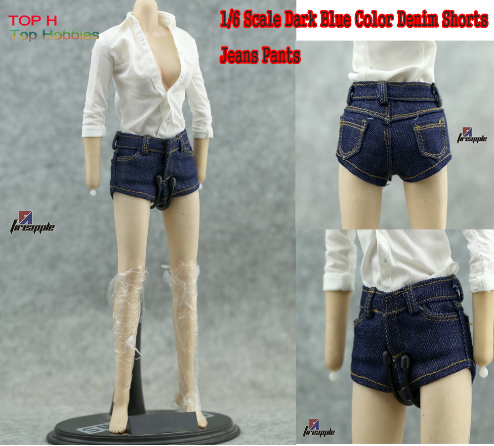 1:6 Scale Dark Blue Color Denim Shorts Jeans Pants Model For 12 Female Figures Not Fit Really Man