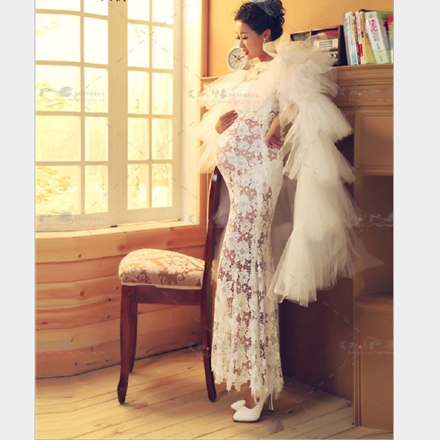 59f334a4a Alta calidad de maternidad embarazada mujeres white lace dress fashion  summer fancy photograghy props foto embarazo