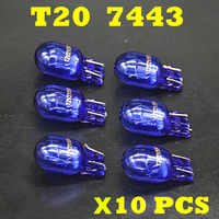 10 pcs 580 7443 W21/5W XENON T20 Natural Blue Glass 12V 21/5W W3x16q Double Filament Super White Car Bulb